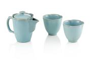 """Tea Soul """"ru Ware"""" Teapot With 2 Cups Set Porcelain Blue"""