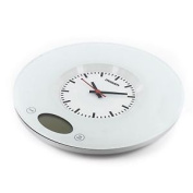 2 In 1 Glass Top Digital Kitchen Scales Analogue Wall Clock Round Weighing Grey
