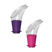 Vacu Vin 18541612 Wine Server Crystal Pink & Purple - J Hook - Set of 2