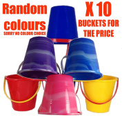 Set Of 10 Mixed Colour Small Beach Buckets