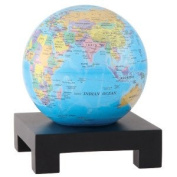 11cm Blue with Political Map MOVA Globe with Square Base in Black