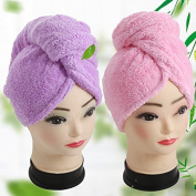 Cooptop Women's Bamboo Hair Turban Towel Twist Wrap Fast Drying Absorbent Bamboo Fibre Dry Hair Cap for Mother Sister Daughter, 2 Pack