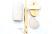 Natural Boar Bristle Dry Body and Facial Brush Set with Konjac & Loofah for Complete Skin Exfoliation by Ive Beauty Collection