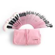 32-Piece Pink Cosmetic Makeup Brush Set with Pink Bag