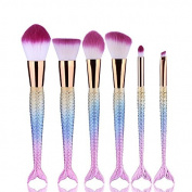 KingYuan Mermaid Makeup Brush kits, Fish Tail Powder Foundation Eye Lip Contour Brushes Kit Cosmetic Tool Gradient Colour