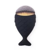 KingYuan Mermaid Shape Makeup Brush Powder Blush Foundation Cosmetic Tools Fish Brush Black