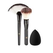 HML Professional Face Fan Brushes Highlight Brush with Sponge Puff - Face Foundation Kabuki Brush 2Pcs