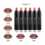 Lucoo New Fashion Sexy 6Pcs Long-lasting Velvet Matte Colour Pencil Lipstick Crayon Sexy Makeup Set