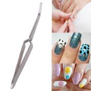 Stainless Steel Nail Art Rhinestones Tweezers Pearl Picking Tool Clip Nipper nail art decoration