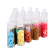 3d 20 Bottles Rhinestones Nail Decoration Sequins Caviar Glitter Glass Beads Balls Manicure DIY Nail Art