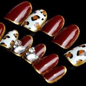 Cat Eye Crystal Press On Nails Pre-designed Red Wine Leopard Short Fake Nail Tips Shiny Gold Line 24pcs/ kit Z436
