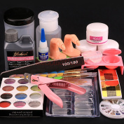 Ships From CA, USA. Pro Acrylic Liquid Powder Half French Nail Art Tips Pump File Clipper Tools Kit