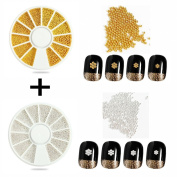 3D Nail Art Decoration Design Metallic Mini Silver & Gold Ball Beads Caviar 0.9 mm with; 2 Wheel Trays; 4 Different Sizes by GADGETS ENTREPOT