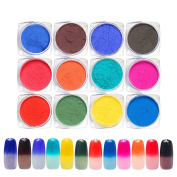 QIMYAR Nail Art Gradient Powders Thermochromic Pigment Thermal Colour Change Temperature Dust Decorations 12 Colour/Set