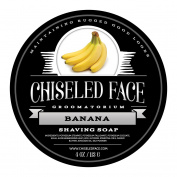 Banana Handmade Luxury Shaving Soap by Chiselled Face — Rich, Thick Lather — Smooth, Comfortable Shaves — Tallow-Based Soap — Made in the USA