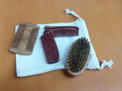 Beard & Moustache Brush and Comb Set for Men with Natural Line & Wood , 100% Satisfied Guaranteed by JCT ECO
