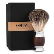 QSHAVE 100% Original Pure Badger Hair Shaving Brush Handmade with Handle on Imitation Wood Texture. Perfect for Wet Shave, Safety Razor,Double Edge Razor