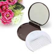 Chocolate Cookie Shaped Mirror Comb Set Makeup Beauty Travel Mini Cute by DOM