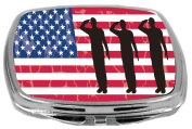 Rikki Knight US Army Silhouettes on American Flag Background Design Compact Mirror, 500ml
