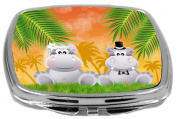 Rikki Knight Hippos in Love Wedding Illustration Design Compact Mirror, 500ml
