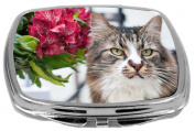 Rikki Knight Portrait of Cat with Pink Flowers Design Compact Mirror, 500ml