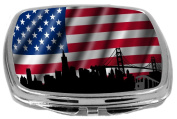 Rikki Knight City State Silhouettes on USA Flag Patriotic USA Flag Design Compact Mirror, 500ml