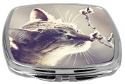 Rikki Knight Beautiful Cat on Vintage Background Touching Blossoms Design Compact Mirror, 500ml