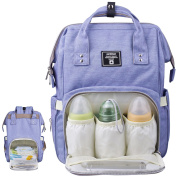Baby Nappy Bag Backpack Multi-Function Waterproof Travel Nappy Tote Bags Large Capacity Creative Fashion Package For Both Mon & Dad//Blue-Purple