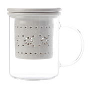 Maxwell & Williams Lille Glass Mug with Infuser Grey 350ML