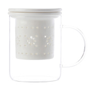 Maxwell & Williams Lille Glass Mug with Infuser White 350ML