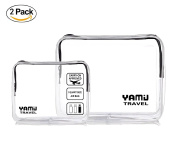TSA Approved Toiletry Bag YAMIU Airline Compliant Waterproof Clear Travel Toiletry bag 2-Pack(2 Sizes) for Men/Women