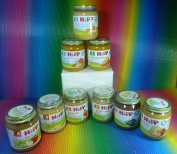 HIPP 9 VARIETY JAR X 125g From 4 months BABY'S FIRST BANANA,APPLE,APPLES WITH BANANAS,PEARS,PLUMS,FRUIT DESSERT,RICE WITH CHICKEN,FINE SWEET CORN WITH MASHED POTATOES AND TURKEY,MIXED VEGETABLES,FRESH