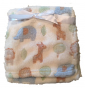 In-Obeytions Cuddly Soft Plush Fleece Baby Blanket, White with Blue Elephants and Brown Giraffes, 80cm x 80cm