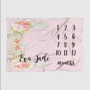 Month Milestone Baby Blanket - Pink Floral - Frame - 50 X 60 - Plush Fleece