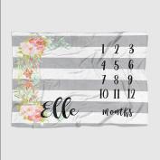 Month Milestone Baby Blanket - Grey Stripe Floral - Frame - 50 X 60 - Plush Fleece