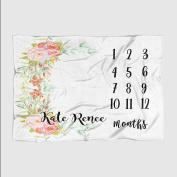 Month Milestone Baby Blanket - White Floral Frame - Frame - 50 X 60 - Plush Fleece