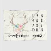 Month Milestone Baby Blanket - Eggshell Floral Deer Antler - Frame - 50 X 60 - Plush Fleece