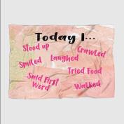 """Today I"" Milestone Baby Blanket - Coral Watercolour- Frame - 50 X 60 - Plush Fleece"