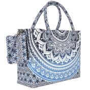 Blue Black Sufficiently Coloured mandala Beach Bag