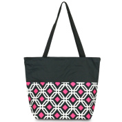 Zodaca Large All Purpose Travel Tote Bag, Black Graphic