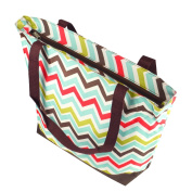 Zodaca Large All Purpose Travel Tote Bag, Multicolor Chevron with Brown Trim