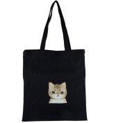 Lux Accessories Black Canvas Tan Silly Kitty Cat Print Shoulder Tote