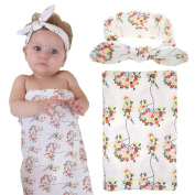 Elesa Miracle Newborn Baby Swaddle Blanket and Headband Value Set,Receiving Blankets