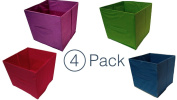 Collapsible Storage - Coloured Storage Bins - Storage Cube Organiser (4 New Fun Colours) Closet Organisers - Storage Container With Handle - Under The Bed Storage Drawers - Colourful Storage