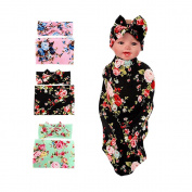 SHELLBOBO 3Pcs/lot Newborn Baby Sleep Swaddle Sack Cocoon Floral Blanket Headband Set