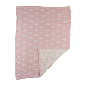 Living Textiles Muslin Jacquard Blanket Paper Swans, Pink