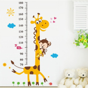 Animal Giraffe Height Chart Wall Sticker Home Decal Removable for Kid Room