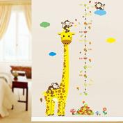 Ayutthaya Shop Cartoon animal giraffe monkey height measure wall sticker children room height chart ruler wall d Ecals nursery decorating room