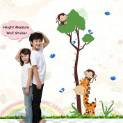 Ayutthaya Shop New Monky Cartoon Tree Baby Giraffe Height Measurement Wall Sticker Baby Room Decorator Nursery Decorator Decal ZY7132