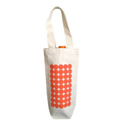 Towne9 Recycled Cotton Canvas Wine Bag, Circles Design, Orange